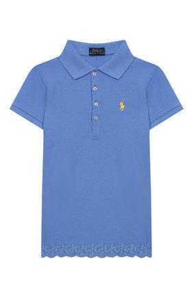 Детское хлопковое поло POLO RALPH LAUREN голубого цвета, арт. 313783917 | Фото 1