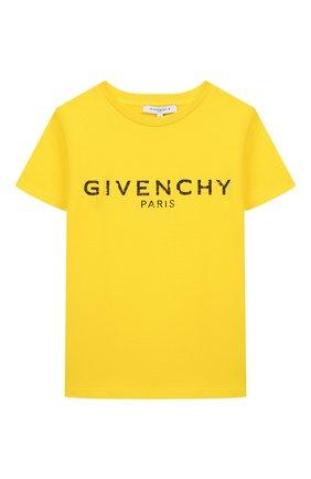 Детская хлопковая футболка GIVENCHY желтого цвета, арт. H25H47 | Фото 1