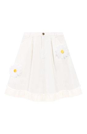 Детская джинсовая юбка CHARABIA белого цвета, арт. S13000 | Фото 1 (Материал внешний: Хлопок; Ростовка одежда: 10 - 11 лет | 140 - 146см, 4 года | 104 см, 5 лет | 110 см, 6 лет | 116 см)