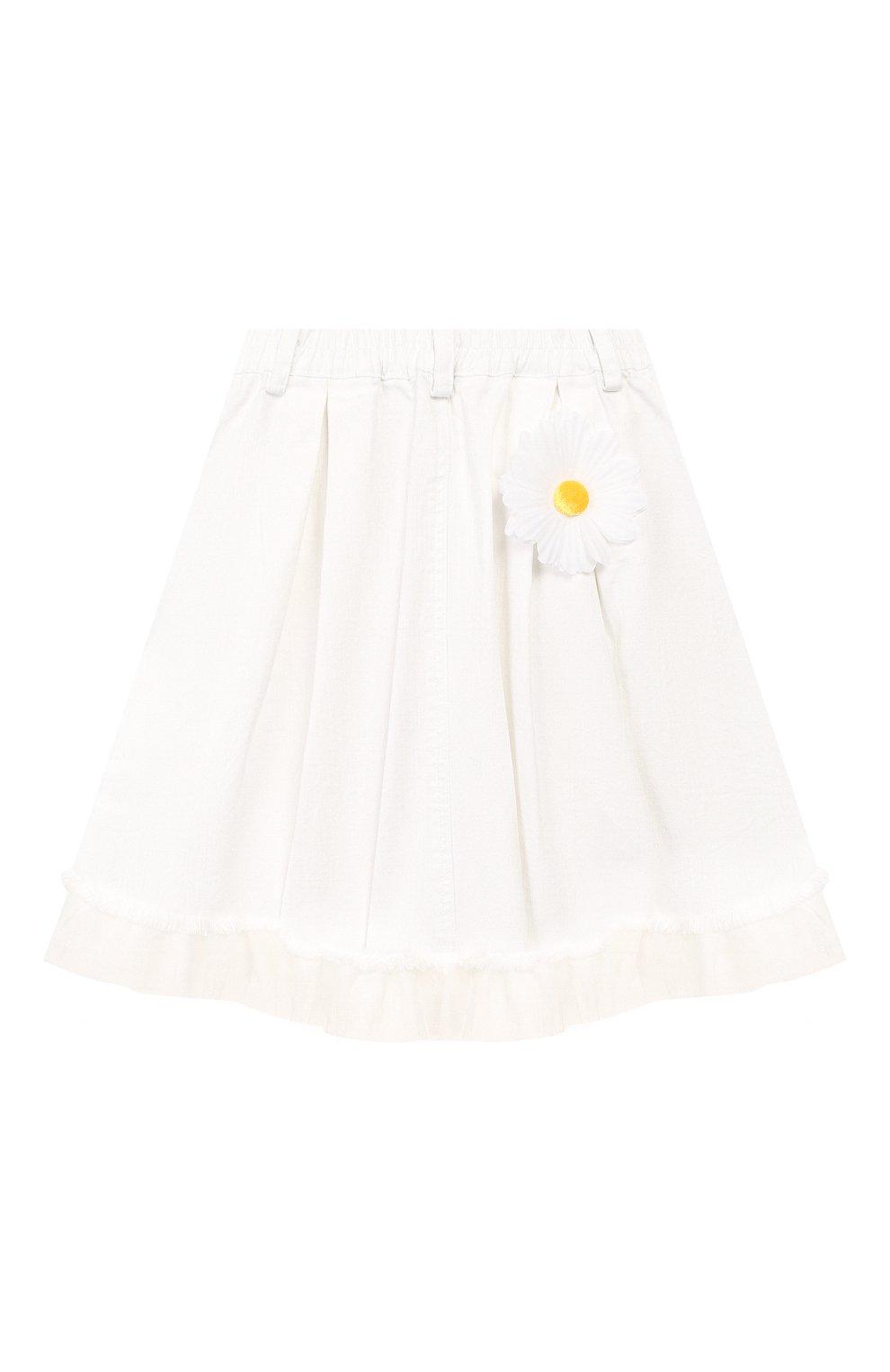 Детская джинсовая юбка CHARABIA белого цвета, арт. S13000 | Фото 2 (Материал внешний: Хлопок; Ростовка одежда: 10 - 11 лет | 140 - 146см, 4 года | 104 см, 5 лет | 110 см, 6 лет | 116 см)