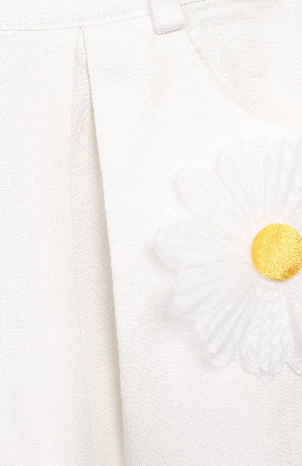 Детская джинсовая юбка CHARABIA белого цвета, арт. S13000 | Фото 3 (Материал внешний: Хлопок; Ростовка одежда: 10 - 11 лет | 140 - 146см, 4 года | 104 см, 5 лет | 110 см, 6 лет | 116 см)
