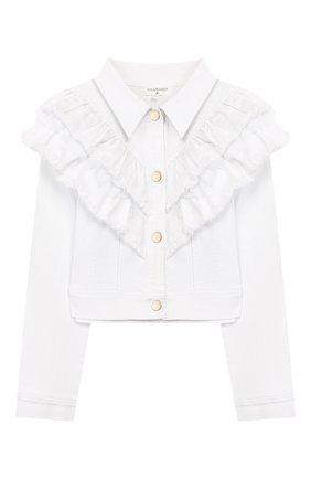 Детская джинсовая куртка CHARABIA белого цвета, арт. S16002 | Фото 1