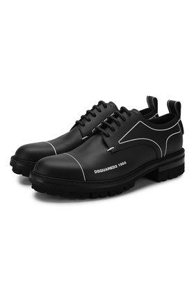 Мужские кожаные дерби DSQUARED2 черного цвета, арт. LUM0046 01500001 | Фото 1