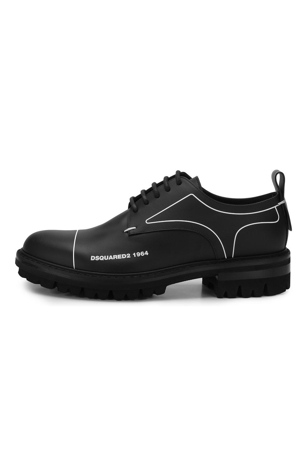 Мужские кожаные дерби DSQUARED2 черного цвета, арт. LUM0046 01500001 | Фото 3