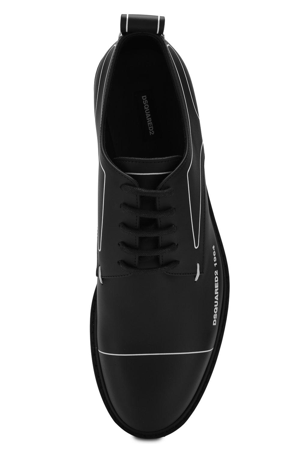 Мужские кожаные дерби DSQUARED2 черного цвета, арт. LUM0046 01500001 | Фото 5
