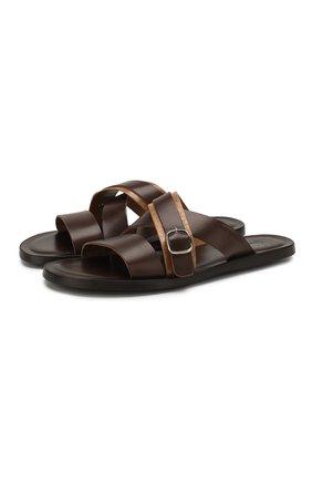 Мужские кожаные шлепанцы MORESCHI темно-коричневого цвета, арт. 9392028 | Фото 1