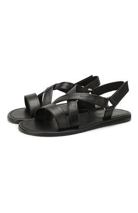 Мужские кожаные сандалии MORESCHI черного цвета, арт. 93FREEP0RT | Фото 1