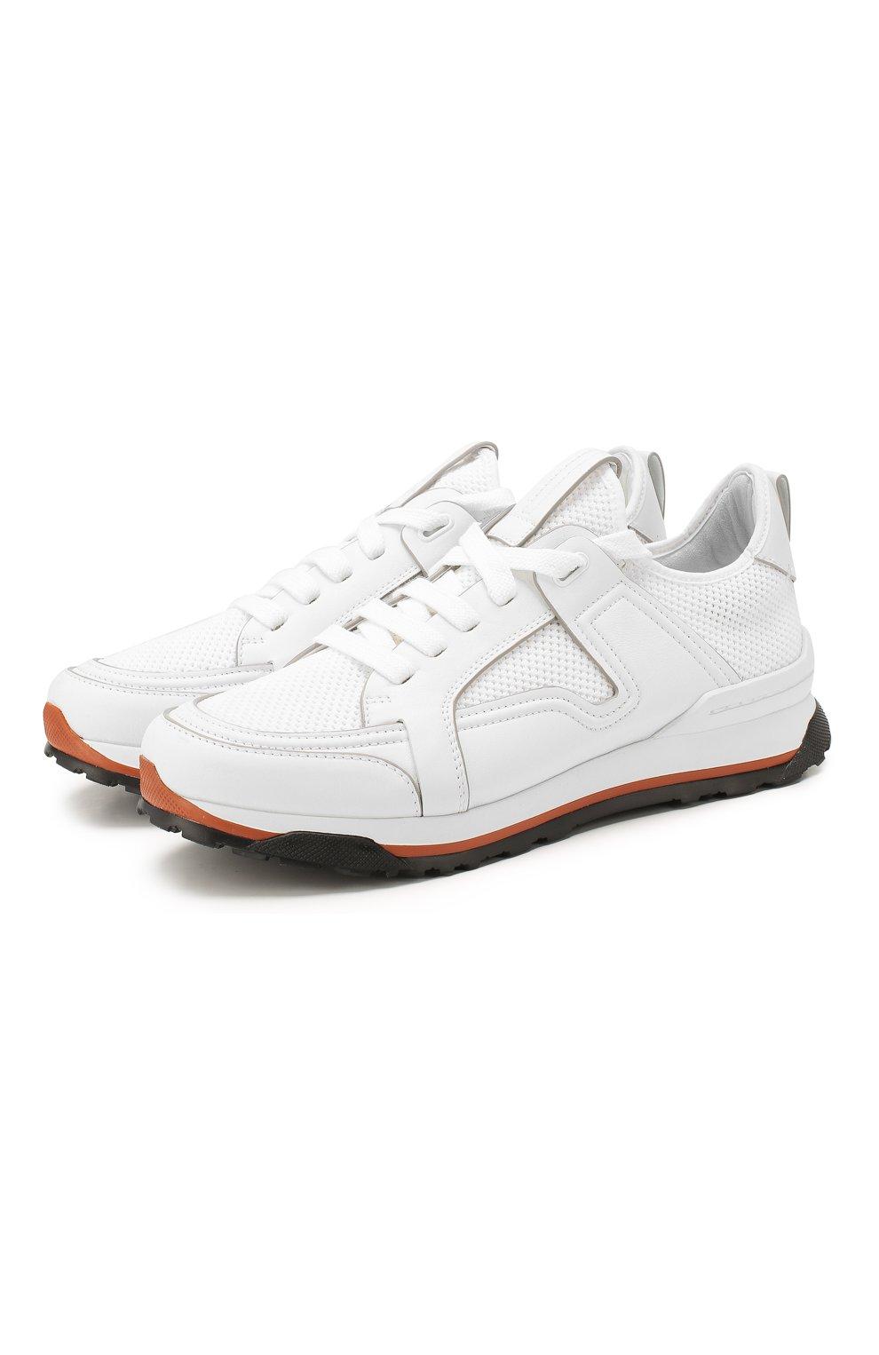 Мужские комбинированные кроссовки ERMENEGILDO ZEGNA белого цвета, арт. A4402X-LHNAF   Фото 1