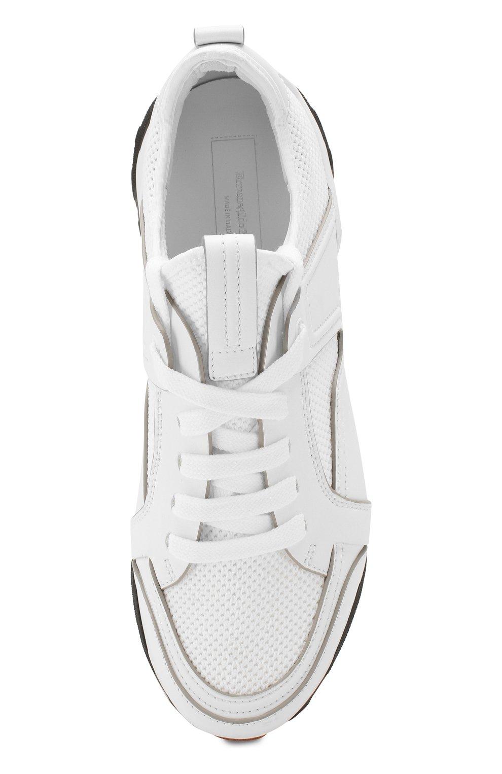 Мужские комбинированные кроссовки ERMENEGILDO ZEGNA белого цвета, арт. A4402X-LHNAF   Фото 5