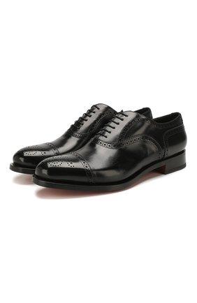 Мужские кожаные оксфорды SANTONI черного цвета, арт. MC0S10348MC2H0ENN01 | Фото 1