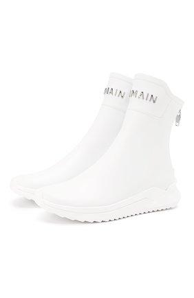 Мужские замшевые кроссовки b-glove BALMAIN белого цвета, арт. TM0C211/LCPA | Фото 1