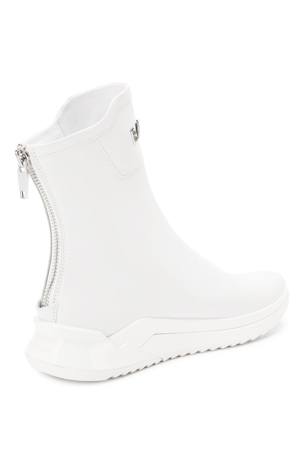 Мужские замшевые кроссовки b-glove BALMAIN белого цвета, арт. TM0C211/LCPA | Фото 4