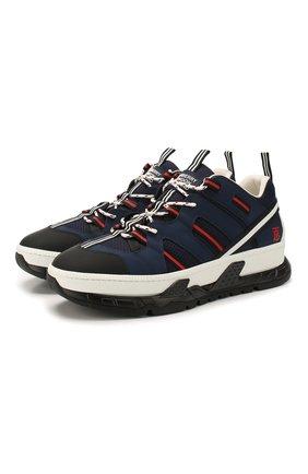 Мужские комбинированные кроссовки BURBERRY темно-синего цвета, арт. 8024045 | Фото 1