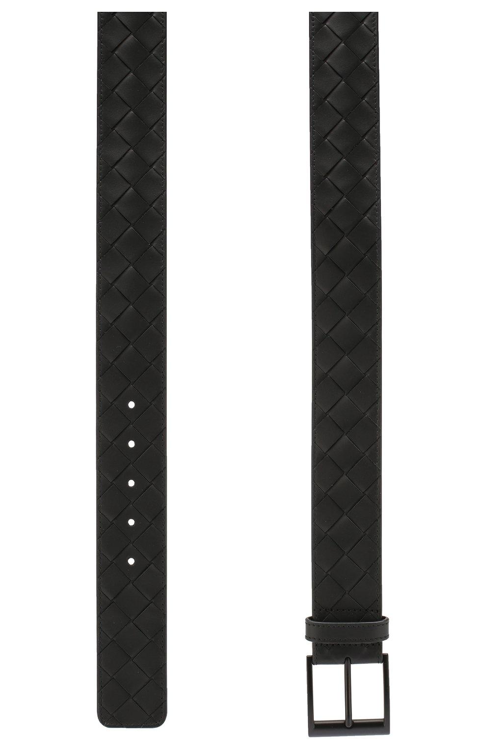 Мужской кожаный ремень BOTTEGA VENETA черного цвета, арт. 609183/VCPQ3   Фото 2