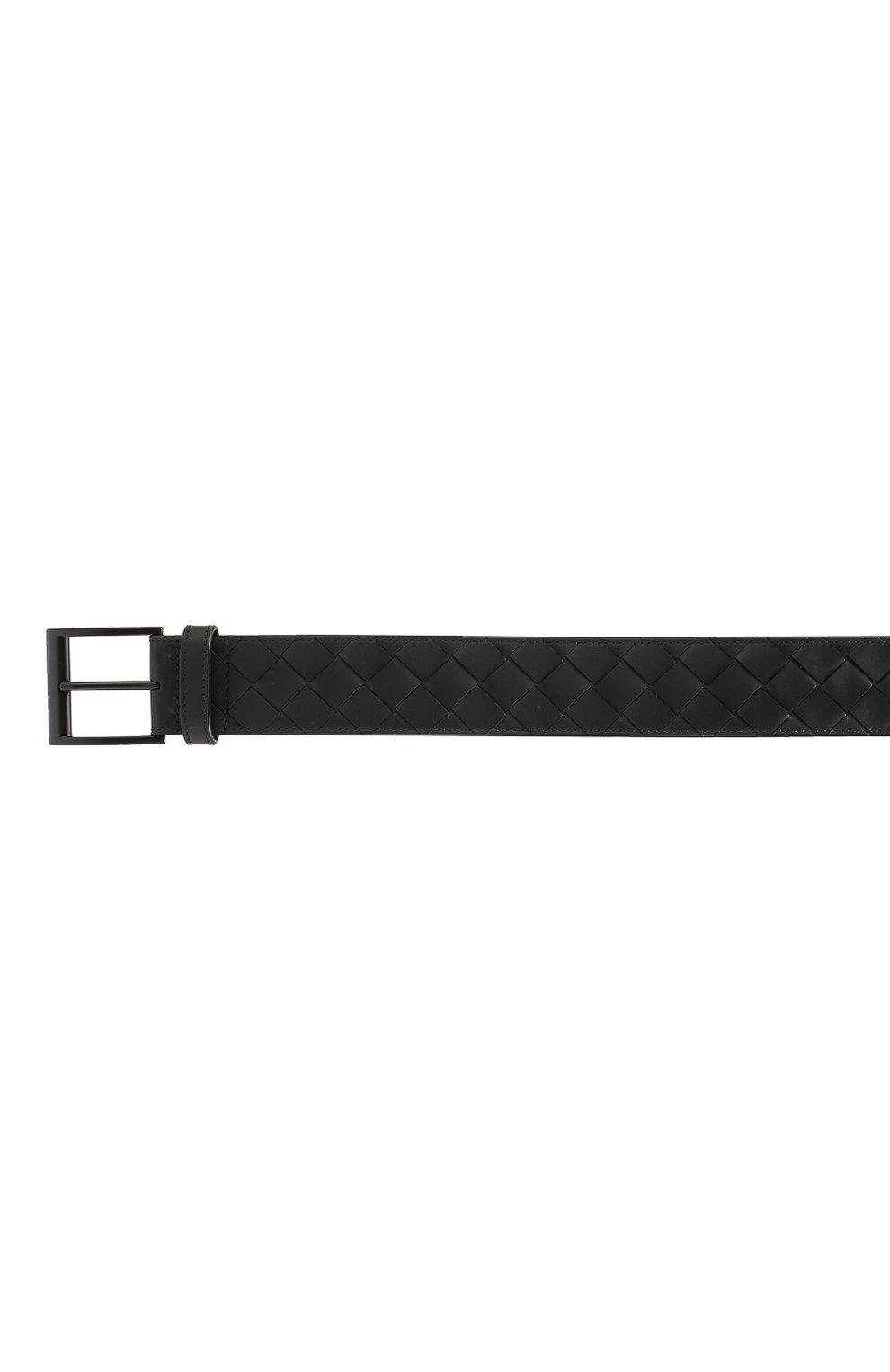 Мужской кожаный ремень BOTTEGA VENETA черного цвета, арт. 609183/VCPQ3   Фото 3