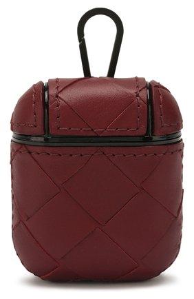 Мужской кожаный чехол для airpods BOTTEGA VENETA бордового цвета, арт. 610263/VCPQ0 | Фото 1