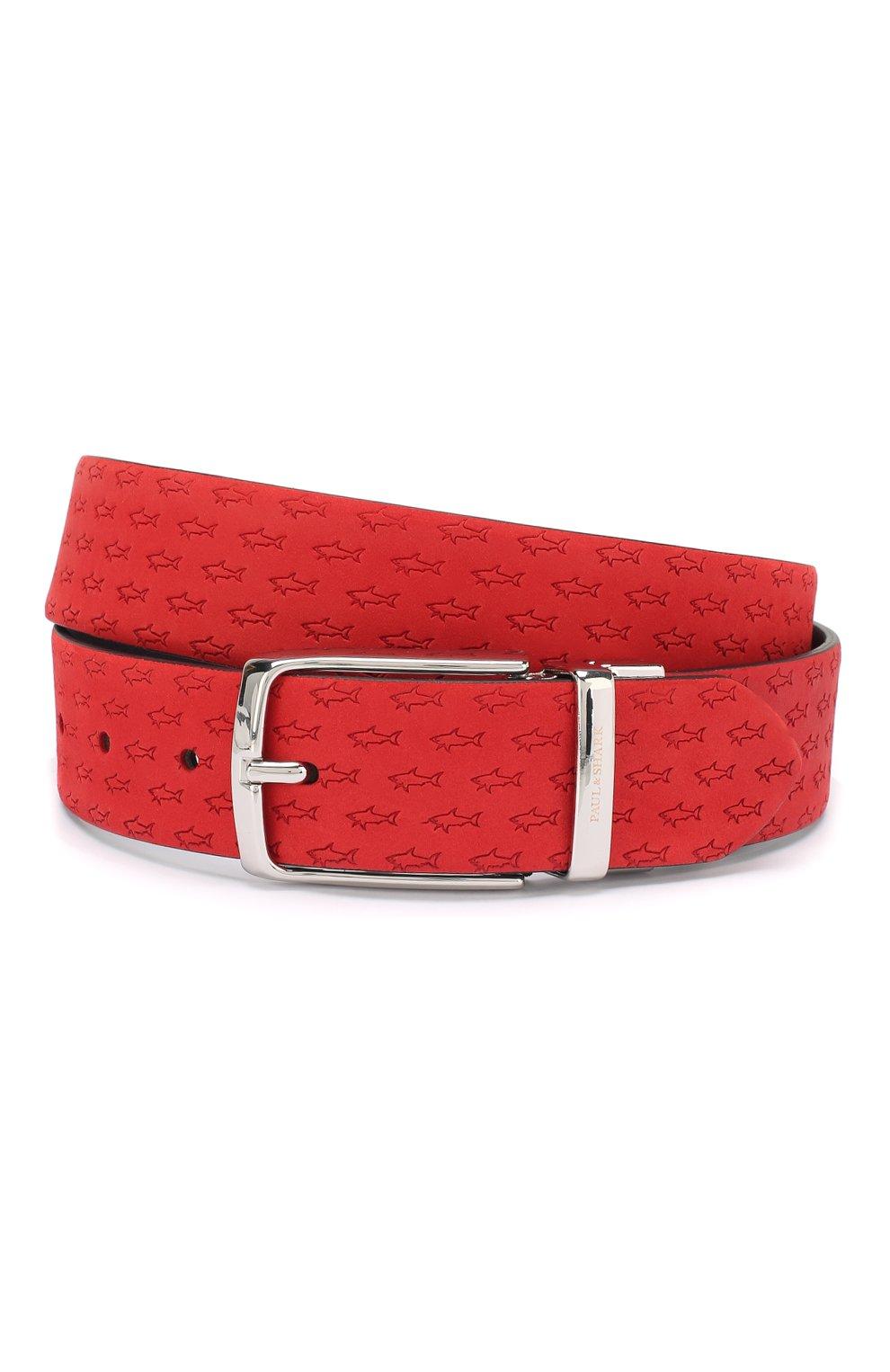 Мужской кожаный ремень PAUL&SHARK красного цвета, арт. E20P6014 | Фото 1