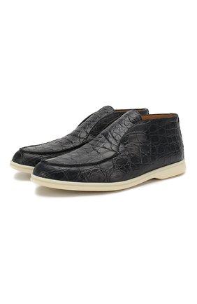 Мужские ботинки из кожи каймана open walk LORO PIANA синего цвета, арт. FAI4984/CYAC | Фото 1