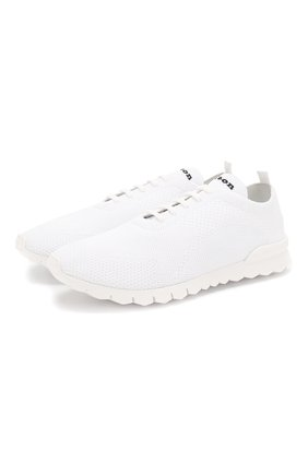Мужские текстильные кроссовки KITON белого цвета, арт. USSFITSN00609   Фото 1