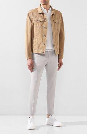 Мужские текстильные кроссовки KITON белого цвета, арт. USSFITSN00609   Фото 2