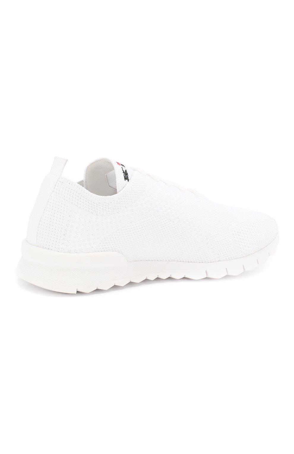 Мужские текстильные кроссовки KITON белого цвета, арт. USSFITSN00609   Фото 4
