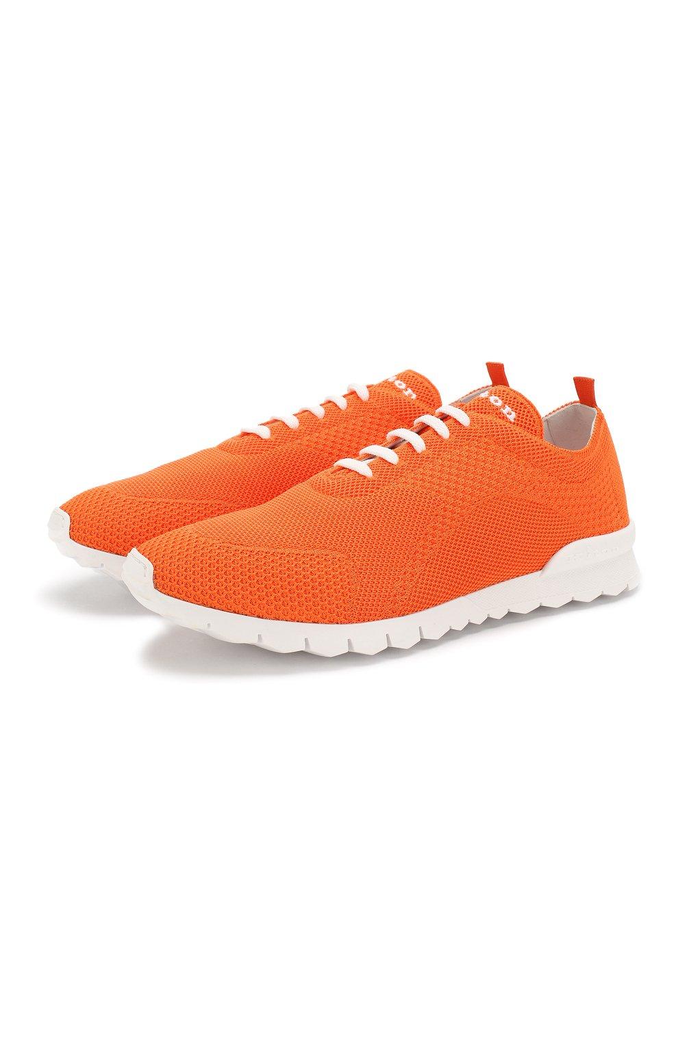 Мужские текстильные кроссовки KITON оранжевого цвета, арт. USSFITSN00609   Фото 1