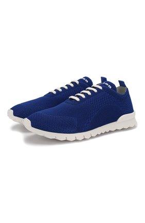 Мужские текстильные кроссовки KITON синего цвета, арт. USSFITSN00609 | Фото 1 (Материал внешний: Текстиль; Материал внутренний: Натуральная кожа; Подошва: Массивная)