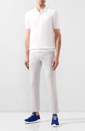 Мужские текстильные кроссовки KITON синего цвета, арт. USSFITSN00609 | Фото 2 (Материал внешний: Текстиль; Материал внутренний: Натуральная кожа; Подошва: Массивная)