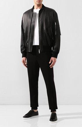 Мужские кожаные кеды saint tropez DOLCE & GABBANA черного цвета, арт. CS1735/A8L37   Фото 2 (Материал внутренний: Натуральная кожа; Подошва: Плоская)