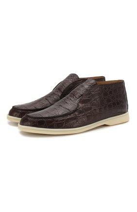Мужские ботинки из кожи каймана open walk LORO PIANA коричневого цвета, арт. FAI4984/CYAC | Фото 1