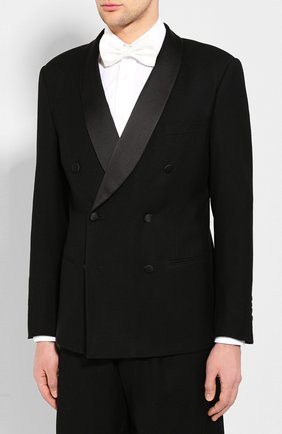 Мужской шерстяной смокинг GIORGIO ARMANI черного цвета, арт. 9WGAS00G/T004K | Фото 2