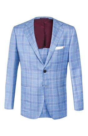 Мужской пиджак из смеси кашемира и льна KITON голубого цвета, арт. UG81K06S46 | Фото 1