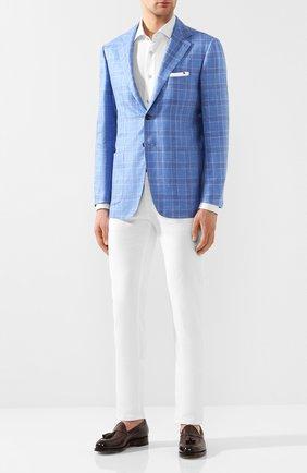 Мужской пиджак из смеси кашемира и льна KITON голубого цвета, арт. UG81K06S46 | Фото 2