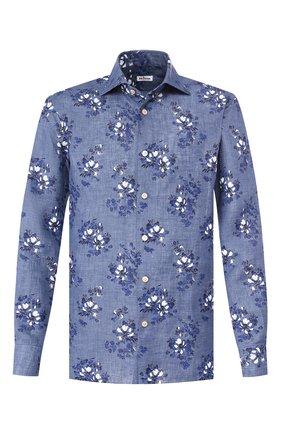 Мужская льняная рубашка KITON синего цвета, арт. UMCNERH0721514 | Фото 1