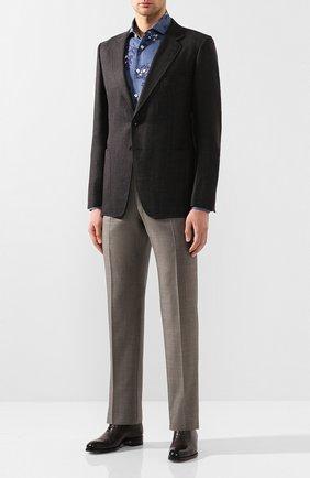 Мужская льняная рубашка KITON синего цвета, арт. UMCNERH0721514 | Фото 2
