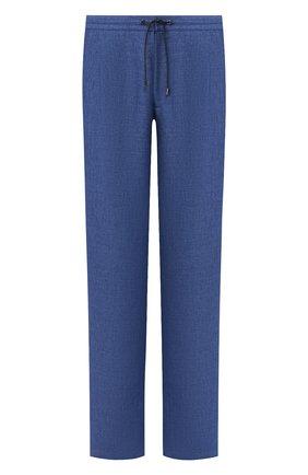 Мужской льняные брюки BRIONI синего цвета, арт. RPMJ0M/P6114/NEW JAMAICA | Фото 1