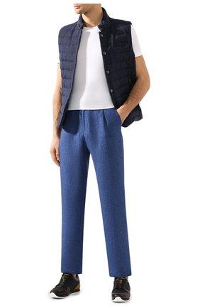 Мужской льняные брюки BRIONI синего цвета, арт. RPMJ0M/P6114/NEW JAMAICA | Фото 2