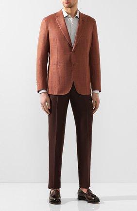 Мужская льняная рубашка ERMENEGILDO ZEGNA серого цвета, арт. UUX38/SRF5 | Фото 2