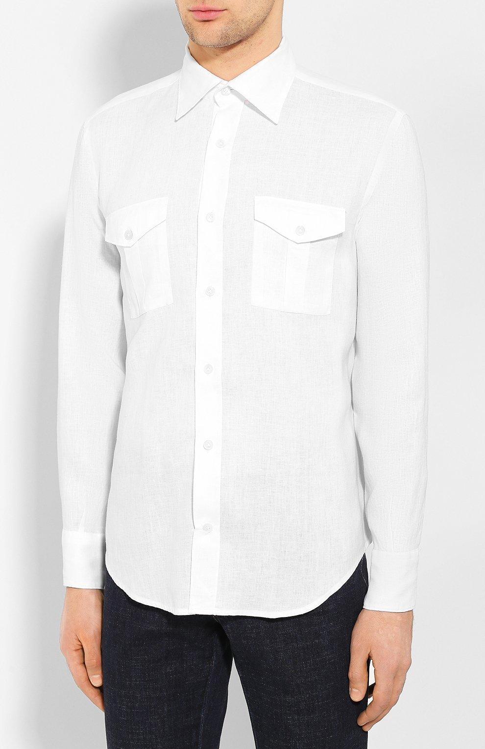 Мужская льняная рубашка ELEVENTY PLATINUM белого цвета, арт. A75CAMA08 TES0A001 | Фото 3