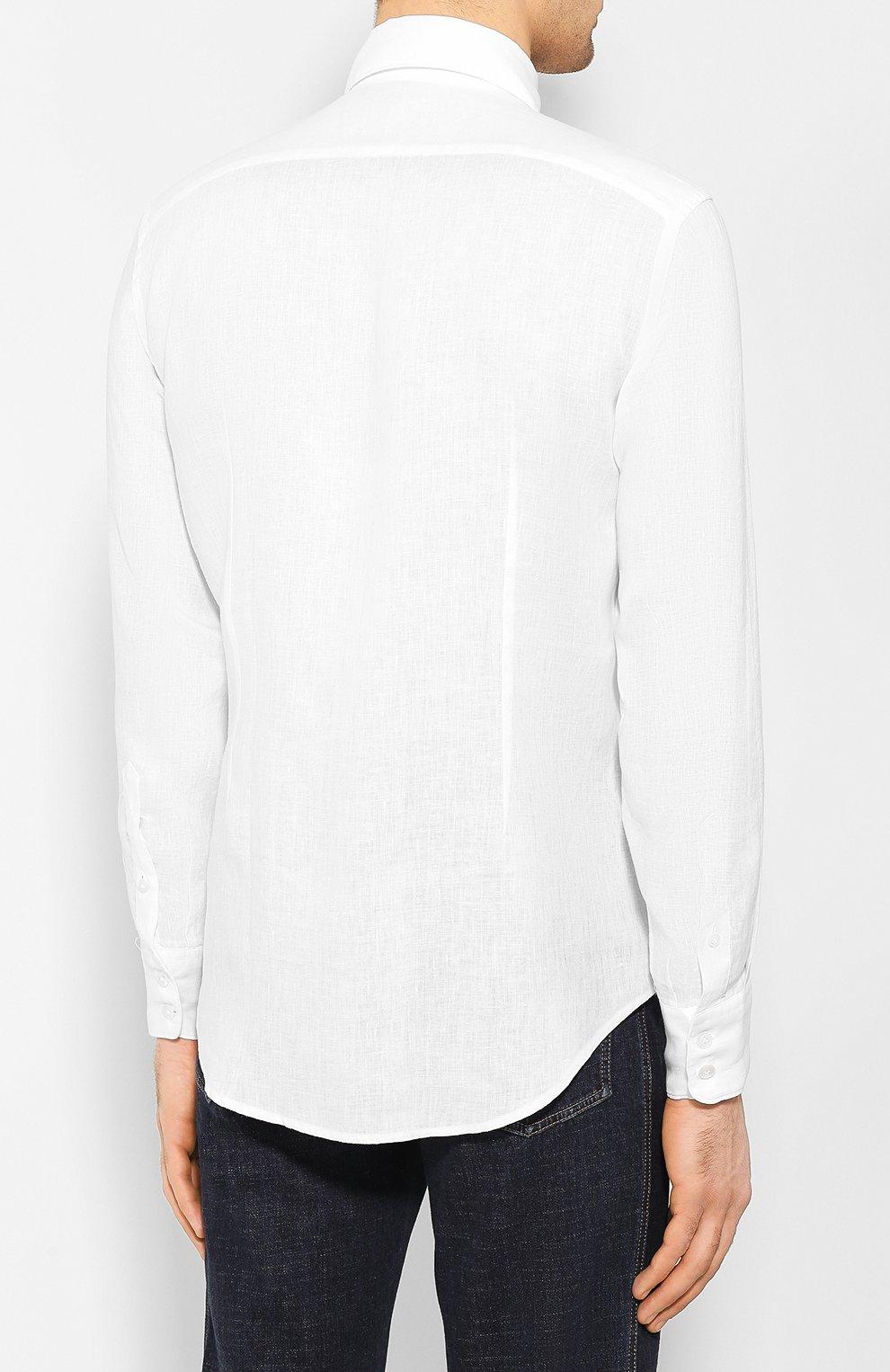 Мужская льняная рубашка ELEVENTY PLATINUM белого цвета, арт. A75CAMA08 TES0A001 | Фото 4