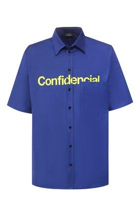 Мужская хлопковая рубашка MARCELO BURLON синего цвета, арт. CMGA042S20FAB001 | Фото 1