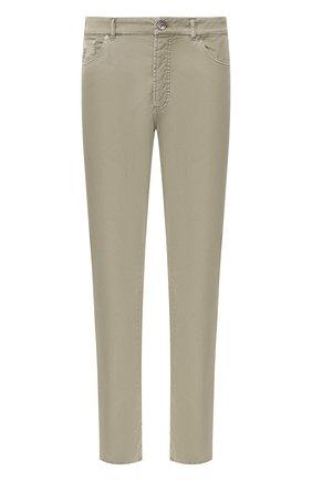 Мужские хлопковые брюки BRUNELLO CUCINELLI хаки цвета, арт. M289RT1070 | Фото 1