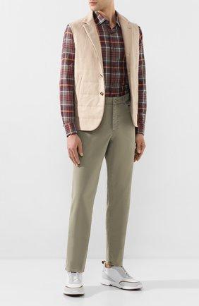 Мужские хлопковые брюки BRUNELLO CUCINELLI хаки цвета, арт. M289RT1070 | Фото 2