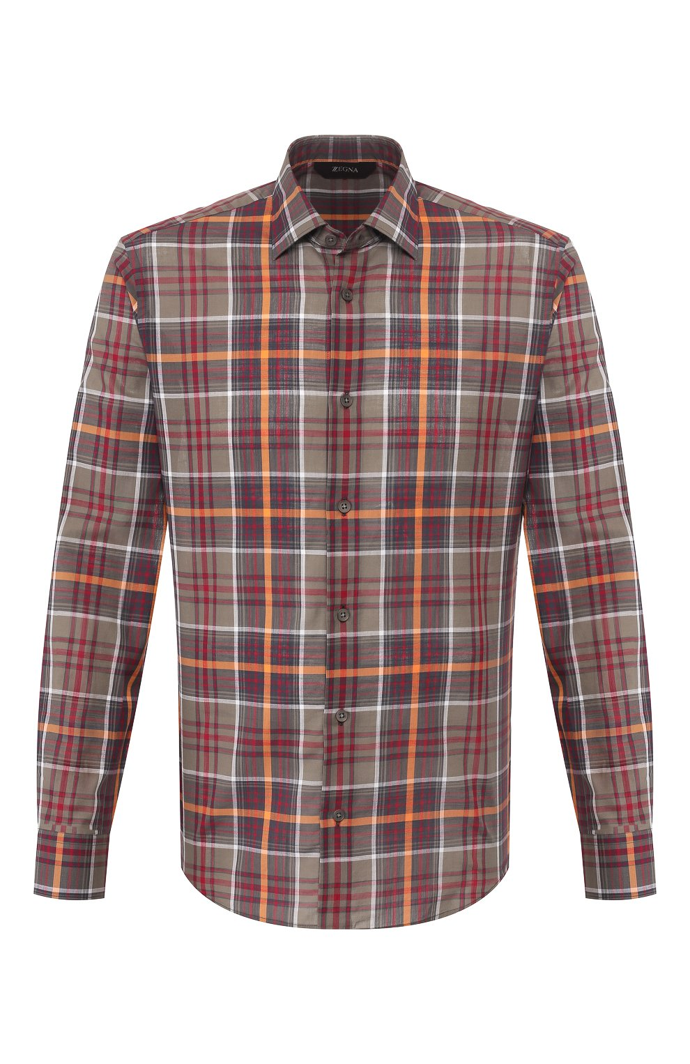 Мужская хлопковая рубашка Z ZEGNA хаки цвета, арт. 705503/ZCRC1   Фото 1