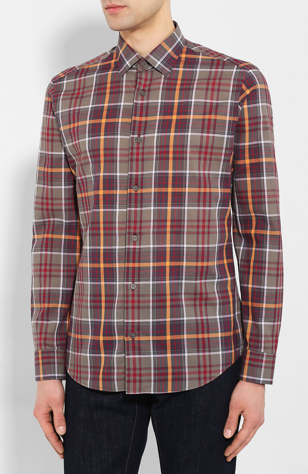 Мужская хлопковая рубашка Z ZEGNA хаки цвета, арт. 705503/ZCRC1   Фото 3