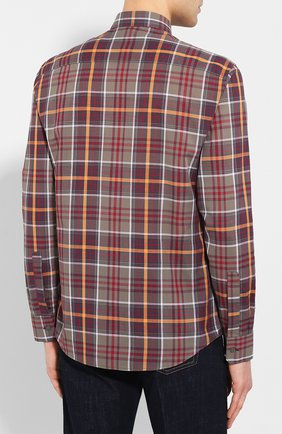 Мужская хлопковая рубашка Z ZEGNA хаки цвета, арт. 705503/ZCRC1   Фото 4