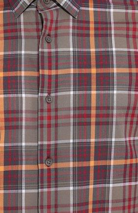Мужская хлопковая рубашка Z ZEGNA хаки цвета, арт. 705503/ZCRC1   Фото 5