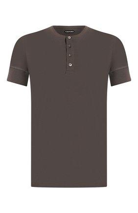 Мужская хлопковая футболка TOM FORD хаки цвета, арт. BU402/TFJ957 | Фото 1