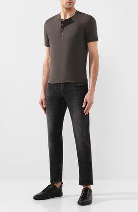 Мужская хлопковая футболка TOM FORD хаки цвета, арт. BU402/TFJ957 | Фото 2