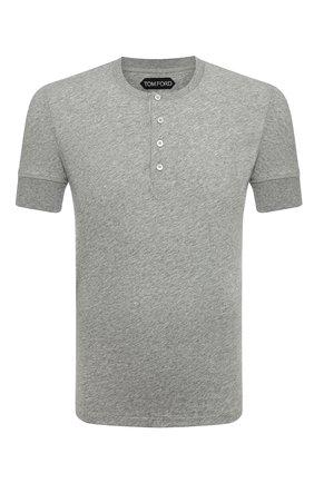 Мужская хлопковая футболка TOM FORD светло-серого цвета, арт. BU402/TFJ957 | Фото 1